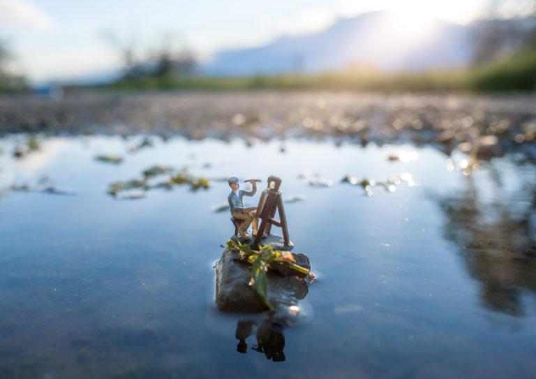 """Macro Miniaturfotografie outdoor Figur ,,Maler"""""""